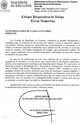 "DIRECTOR DE LA PREPA ""JUÁREZ"" OBLIGA A ESTUDIANTES A VENDER BOLETOS O A ""COOPERAR"" CON 150 PESOS"