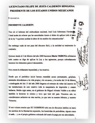 CARTA AL PRESIDENTE CALDERÓN DETONA NUEVOS ATAQUES CONTRA DIARIO TRIBUNA!